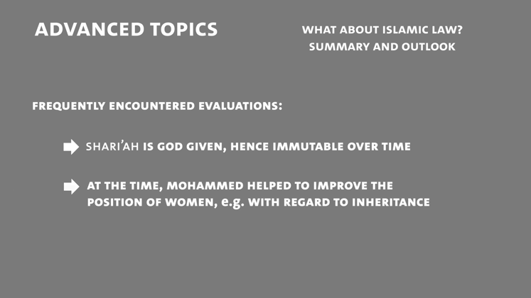 Still large mlea   class 3  part 1   what about islamic law   summary and outlook  voigt